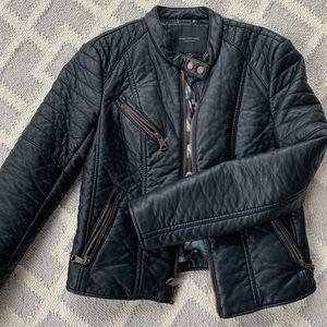 Andrew Marc black faux leather moto jacket sz s